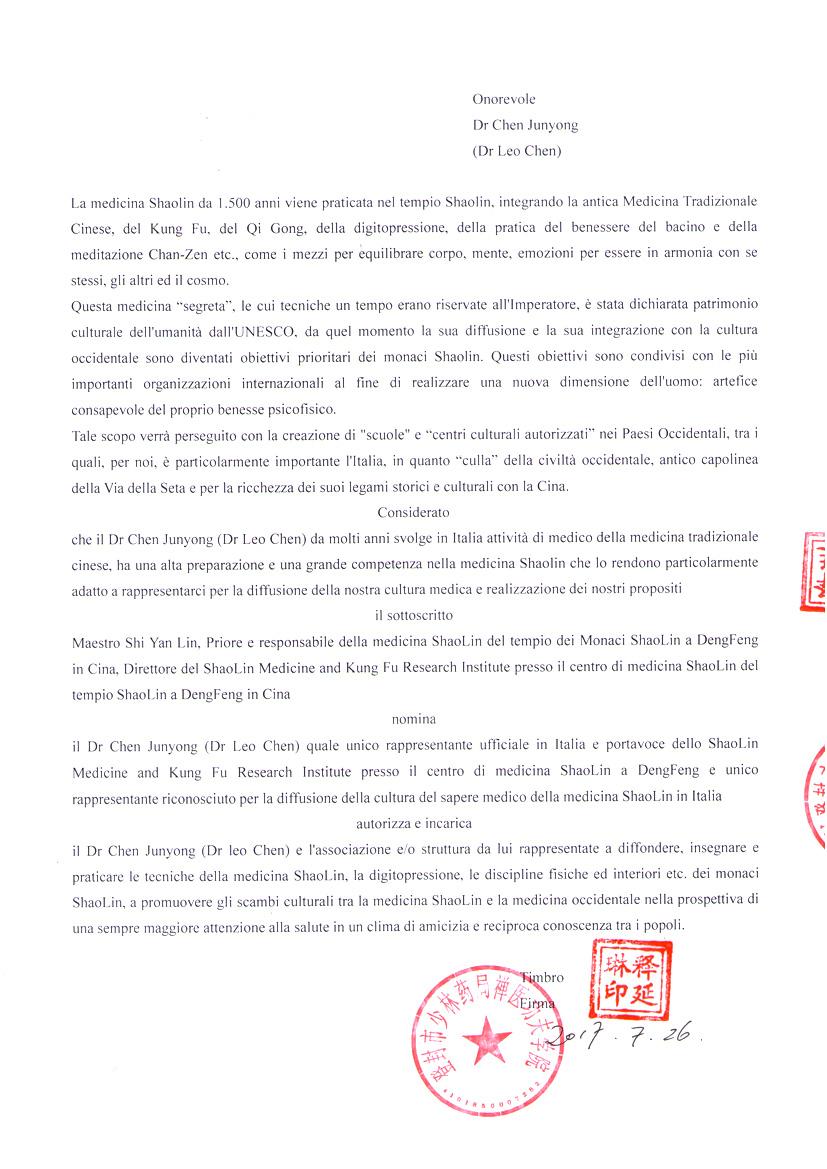 incarico ufficiale Dr. Chen 2 pagina